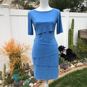 Tahari Half Sleeve Blue Layered Mini Dress